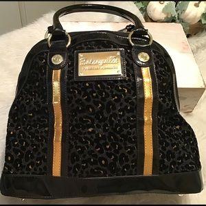 Large satchel handbag women's Betsy Johnson EUC!